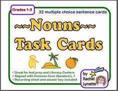 Use these 32 multiple choice task cards to practice identifying these four different types of nouns: common noun, proper noun, plural noun, pronoun. $