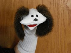 sock puppets   Dog Sock Puppet with Brown Ears Daycare School by puppetsbymargie