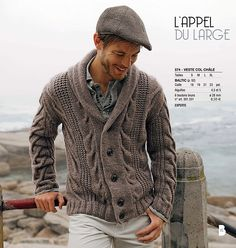 Ravelry: Project Gallery for 574-Men's cardigan pattern by Bergère de France