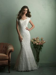 Lace Cap Sleeve Mermaid Wedding Gown by Allure Bridals Modest Collection^^^^
