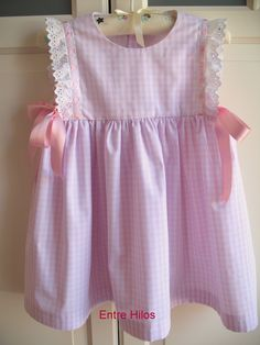 Among Threads: Table Vichy Toddler Fashion, Toddler Outfits, Kids Outfits, Kids Fashion, Kids Dress Collection, Country Style Dresses, Baby Booties Knitting Pattern, Dress Anak, Baby Dress Design