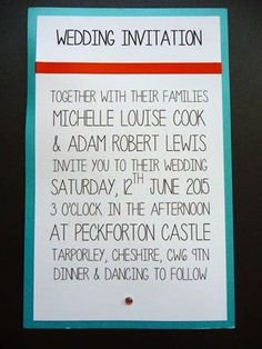 Contemporary styled Wedding invitations with an aqua and orange colour scheme
