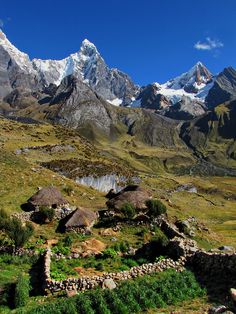 Traditional houses at the footsteps of Cordillera Huayhuash in Peru