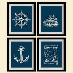 Sea Nautical Art Print  Prussian blue Marine by MadeForYouPrints, $39.95