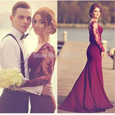 Mermaid Prom Dress 2019 Custom Made Long Sleeve Lace Burgundy sexy Hot Sale Long Sweetheart Evening Party Dress For Graduation Prom Dresses 2016, Mermaid Prom Dresses, Cheap Prom Dresses, Bridesmaid Dresses, Wedding Dresses, Evening Skirts, Prom Dresses Long With Sleeves, Dress Long, Red Satin Prom Dress