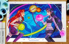 Starfire vs Blackfire by larienne on DeviantArt Starfire Dc, Original Teen Titans, Deathstroke, Batman And Superman, Joker And Harley Quinn, Dc Heroes, Manga Drawing, Beautiful Artwork, Online Art Gallery