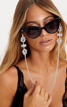 Silver Floral Gem Sunglasses Chain