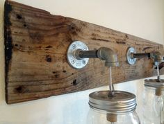 Rustic Bathroom Vanity Barn Wood Mason Jar Hanging Light Fixture Primitive | eBay