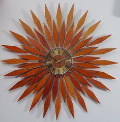 Starburst Wall Clock,1960s Mid Century Modern Sunburst. Mad Men Teak Fireworks.