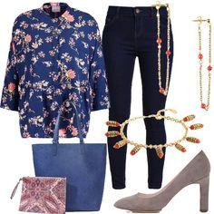 La camicia floreale, a sfondo blu, con bottoncini è davvero carina e a buon prezzo. Rende vivaci anche un paio di jeans blu scuri. Abbiniamo décolleté dal tacco comodo, grigie, in pelle scamosciata, la maxi borsa da indossare alla spalla grazie ai grandi manici, in colore blu, con interno con stampa fantasia, orecchini e bracciale in metallo dorato con particolari color arancione.