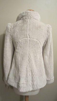 Yoana Baraschi Women's Bone Faux Fur Shawl Collar Jacket Soft Plush 6 | eBay