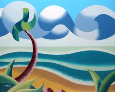 Daily Painters Abstract Gallery: Mark Webster - Abstract Geometric Ocean Coast Landscape Oil Painting