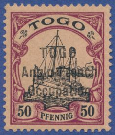 "German Colonies Togo British Occupation, Michel 8I TOGO, British Occupation. 50 pf. brownish lilac/black on brownish orange with overprint ""Togo Anglo-French Occupation"". A perfect, fresh copy with original gum (""Erstfalz"" is mentioned in cert. but no hinge trace is visible). Mi=12.000 for a hinged copy. Sign. A. Diena, R. F. Engel and Carl H. Lange. Cert. Dr. Dericks"