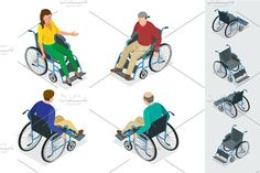 Wheelchair isolated. Man in Wheelchair. Flat 3d isometric vector. Human Icons