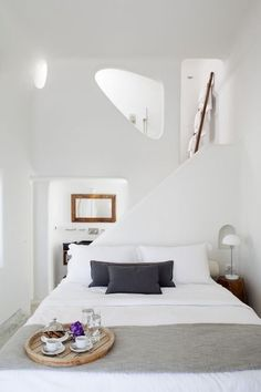 This bedroom would be a modern alternative for a cave summer house at Greek island, Santorini - Decoration suggestions - House interior ideas - #decor #house