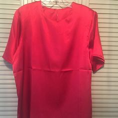 Brand new outfit Red outfit set, shirt is a size 14, pants size 16 petite, 28 1/2 length of pants, never worn Anthony richards  Tops Tees - Short Sleeve