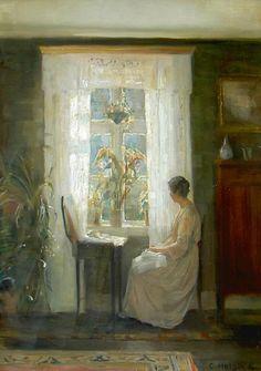 """Interior with the artist's wife in a light dress near the window"" By Carl Vilhelm Holsøe (Danish, oil on canvas; 48 x 40 cm; Art And Illustration, Dramatic Lighting, Art Society, Aarhus, Window Art, Art Database, Classical Art, Bo Bartlett, Fine Art"