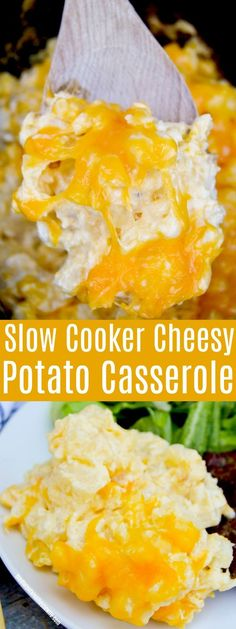 The best potato recipe is now made in your slow cooker! This Slow Cooker Cheesy Potato Casserole is creamy and cheesy and my all time favorite side dish recipe. It& one of the best easy recipes that you and your family will love! Slow Cooker Potatoes, Crock Pot Potatoes, Crock Pot Slow Cooker, Crock Pot Cooking, Mashed Potatoes, Cheesy Potato Recipe Crockpot, Funeral Potatoes, Oven Cooking, Cooking Light