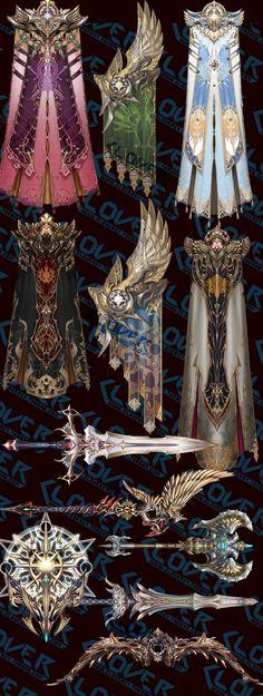 Enchanted cloaks and weapons Character Design Cartoon, Character Design References, Character Design Inspiration, Fantasy Armor, Fantasy Weapons, Character Concept, Character Art, Comic Japan, Arte Nerd