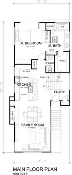 Main Floor only, loose bath & turn closet sideways.turn left over space w/ stairwell into study/office. Carriage House Garage, Garage House, Narrow Lot House Plans, House Floor Plans, Architecture Life, Coastal House Plans, Floor Plan Layout, Underground Homes, Cabins And Cottages