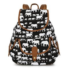 Cute Elephant Print Canvas Backpack Casual School Bag Travel Daypack for Girl Boy Happy Elephant, Elephant Love, Elephant Print, Elephant Bedding, Elephant Stuff, Elephant Gifts, Cute Backpacks, Canvas Backpack, Cloth Bags