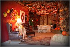 Party in a Barn! An interesting take on Country Chic with an explosion of fall colors. (in Georgia)