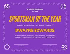 Use this customizable Purple Sportsman Certificate template and find more professional designs from Canva. School Certificate, Teacher Awards, Spelling Bee, Spirit Awards, Honor Roll, Certificate Templates, Science Fair, Best Teacher, Essay Writing