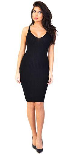 Ribbed Black Midi Slip Dress