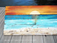 Lake Girl Paints: Sunset Beach Art from Fence Boards pallet art.my first retirement project? Painted Pallet Art, Pallet Painting, Painting On Wood, Painted Pallets, Painted Wood, Wood Pallet Art, Diy Painting, Pallette, Ocean Sunset