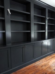 And just like that, it's week two of the One Room Challenge! There's a ton to get done, but one item I can check off my list is the built-in bookcases. Home Library Rooms, Home Library Design, Home Office Design, Home Office Decor, House Design, Basement Built Ins, Office Built Ins, Built In Bookcase, Bookshelves