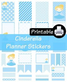 Disney Cinderella Princess PDF PRINTABLE Planner Stickers Happy Planner Erin Condren Planner Filofax Plum Paper Decorating Kit by WhimsicalWende on Etsy