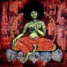 Angela Davis as the Green Tara | by Erin Currier | via Black Women Art