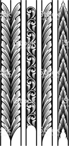 eching Designed by a hand engraver. Make as long or short as you wish by adding or removing individual leaves. Highly detailed and drawn to replicate actual hand engraving. Includes AI, EPS, and hi-res JPG. Hawaiianisches Tattoo, Maori Tattoos, Arm Band Tattoo, Engraving Tools, Metal Engraving, Baroque Frame, Gravure Metal, Leaf Border, Leather Carving