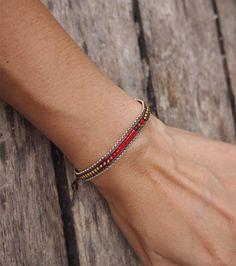 Tiny red mix Single Wrap bracelet on brown cord with chain, layer bracelet, beaded bracelet, friendship bracelet