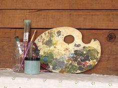 Old artist palette- great for your art studio decor!