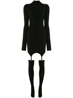 Shop Dion Lee Long Sleeve Garter Mini Dress In 黑色 from stores. Black long sleeve garter mini dress from Dion Lee featuring a roll neck, long sleeves, a stretch fit, a short length and adjustable garter straps. World Of Fashion, Fashion Art, High Fashion, Fashion Outfits, Fashion Design, Dion Lee, Grunge, Women Wear, Dresses With Sleeves