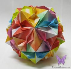 Cherry Blossom Ball. 30 papers. Extreme Origami.