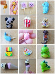 Cute clay charms x Fimo Kawaii, Polymer Clay Kawaii, Sculpey Clay, Polymer Clay Projects, Polymer Clay Charms, Polymer Clay Creations, Polymer Clay Art, Polymer Clay Jewelry, Clay Crafts
