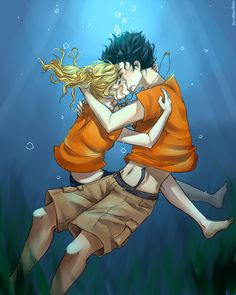 30 Day Percy Jackson Challenge Day 17 Most Memorable Moment (PJO): Percabeth Underwater Kiss Percy Jackson Annabeth Chase, Percy Jackson Ships, Percy Jackson Fan Art, Percy And Annabeth, Percy Jackson Memes, Percy Jackson Books, Percy Jackson Fandom, Solangelo, Drarry