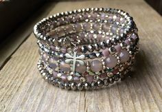 Sparkling Grey and Lavender Multi Strand Memory Wire Bracelet