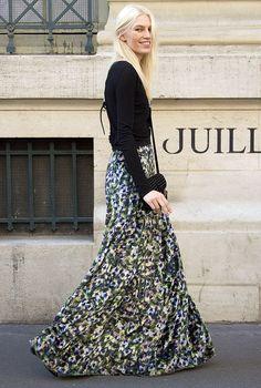 floral skirt, black sweater