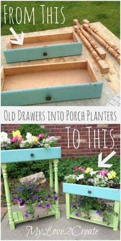 DIY: How To Make Porch Planters Using Salvaged Drawers and Porch Spindles. by rosa