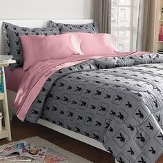 Superb $128.99 Playboy® Monogram Bunny Head Gray 3 Piece Microfiber Comforter Set  FULL From PLAYBOY Get