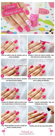 Flamingo #nailart #tutorial #diy