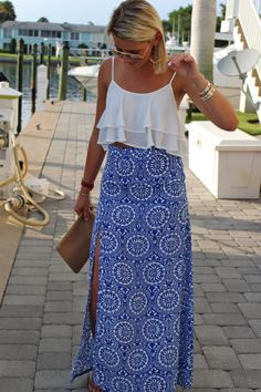 I like the small print of the maxi. Could I pull off a crop to as a mom? Not sure. But it is adorable together.