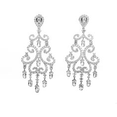 Pre-owned Odelia 18K White Gold Diamond Chandelier Earrings ($14,675) ❤ liked on Polyvore