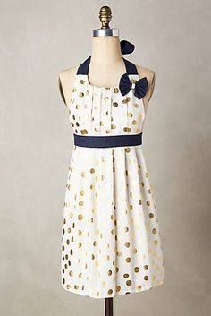 Gold Polka Dotted Apron would be so cute for a dinner party hostess!!