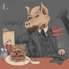 """Snowball (Lenin & Trotsky) from """"Animal Bar (A Fairy Story)"""" Individual character designs for a large format artwork composition based on the Animal Farm allegory of the Russian Revolution by George Orwell, for Revolution Vodka Bars.. """"All Vodka's are Equal… but some are more equal than others"""""""
