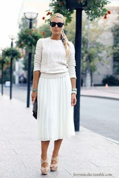 white knit cable sweater + midi skirt