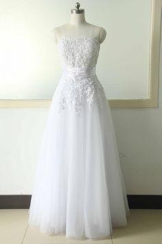 White Lace Wedding dress Strapless Lace Wedding Gowns Tulle Bridal Wedding Gowns A-line Wedding dress